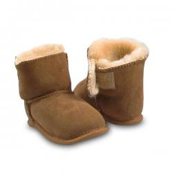 Chic Empire Velcro Baby Booties - Chestnut