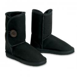 Chic Empire  Button Wraps 3/4 Sheepskin Boots - Black