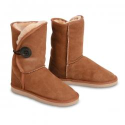 Chic Empire Button Wraps 3/4 Sheepskin Boots - Chestnut