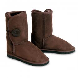 Chic Empire Button Wraps 3/4 Sheepskin Boots - Chocolate