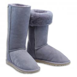 Chic Empire Classic Tall Sheepskin Boots - Grey