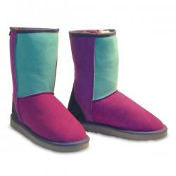 Chic Empire  Classic 3/4 Patchwork Sheepskin Boots - Jewel