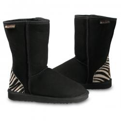 Chic Empire Safari Classic 3/4 Sheepskin Boots - Zebra Black