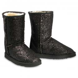 Chic Empire  Shimmer 3/4 Sheepskin Boots - Black
