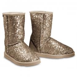 Chic Empire  Shimmer 3/4 Sheepskin Boots - Champagne