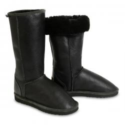 Chic Empire Classic Bomber Tall Sheepskin Boots - Black