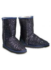 Chic Empire  Shimmer 3/4 Sheepskin Boots - Navy