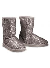 Chic Empire Shimmer 3/4 Sheepskin Boots - Silver
